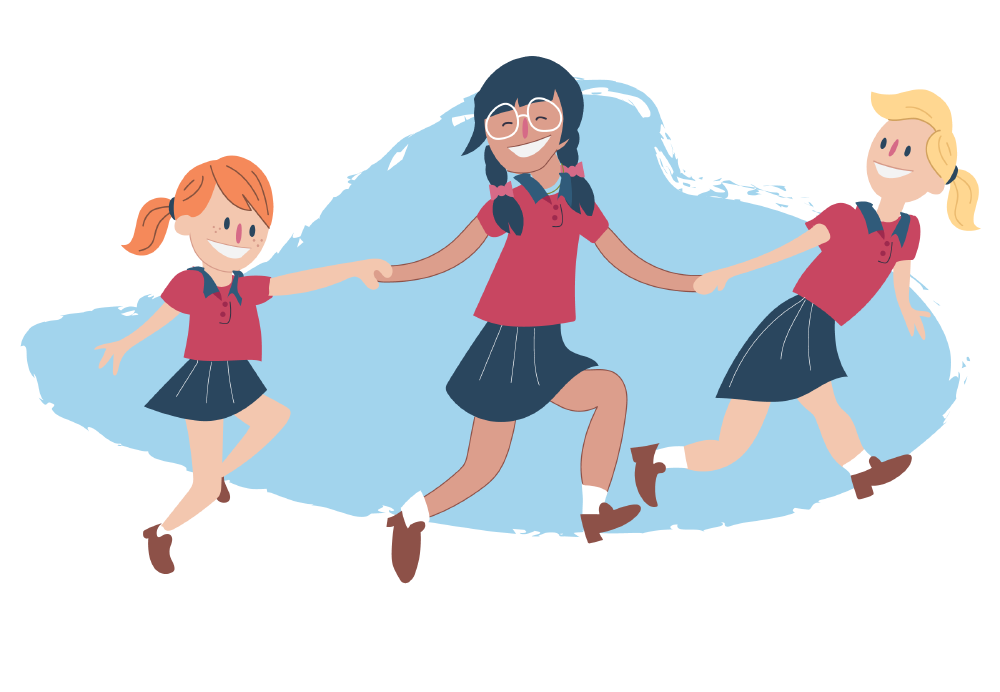 Girls skipping and holding hands