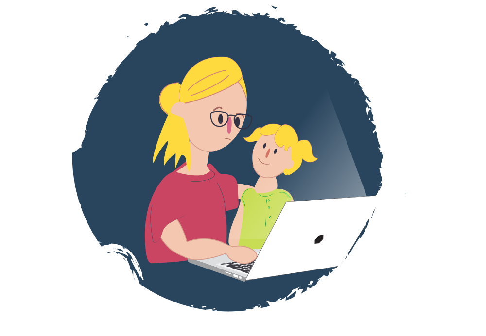 Girl with her Mum looking online