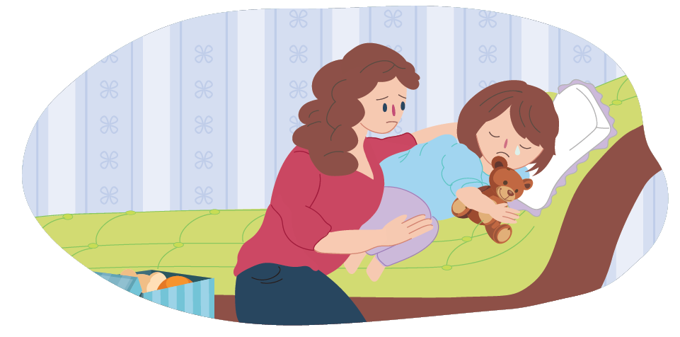 Mother comforting sad child in bed