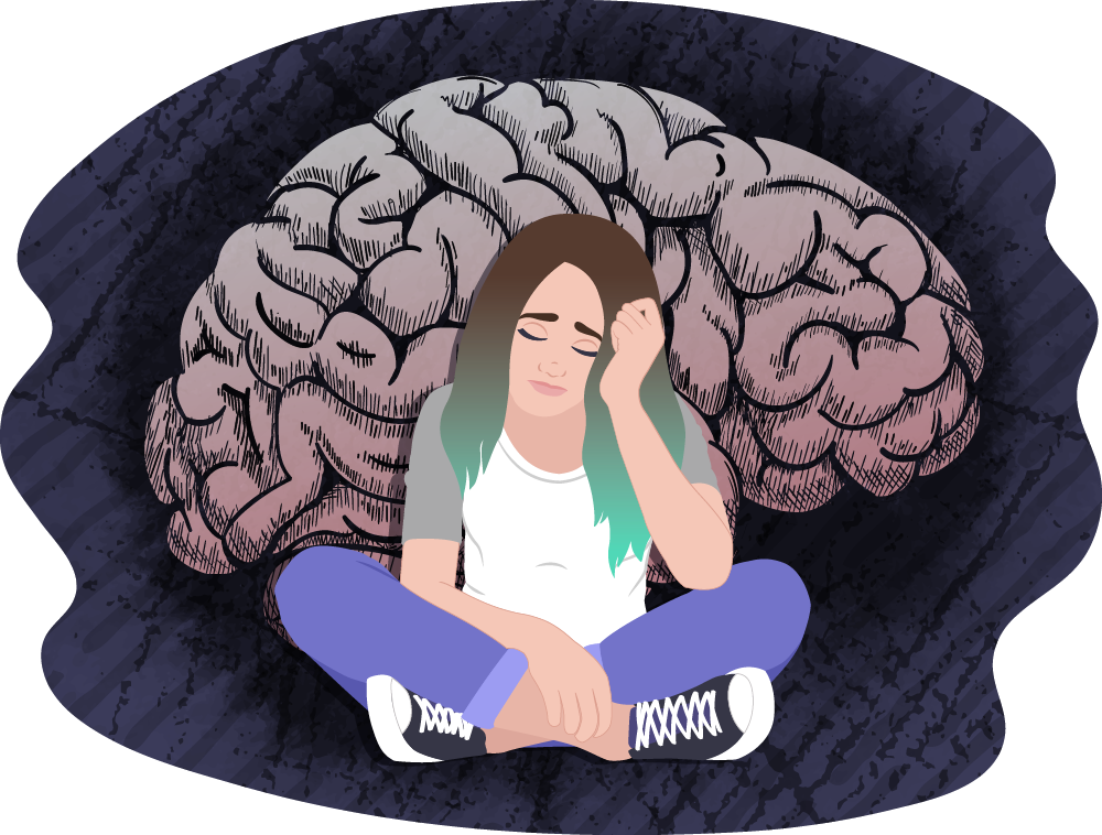 Teen girl looking sad, with a brain behind her