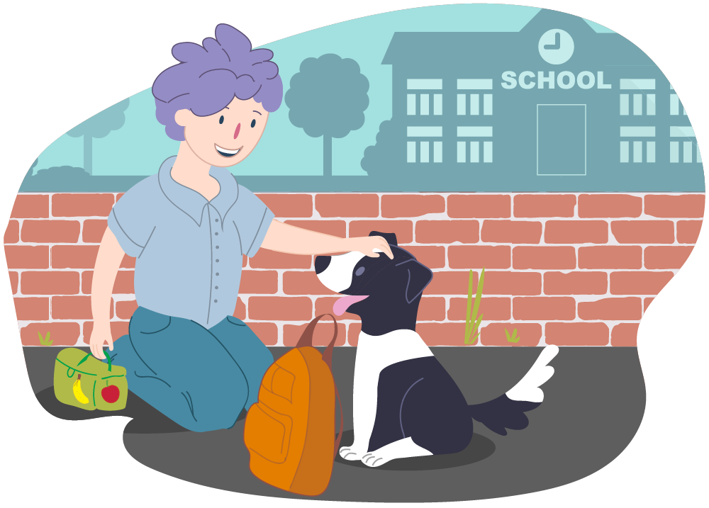 Boy getting ready for school and dog brings his backpack
