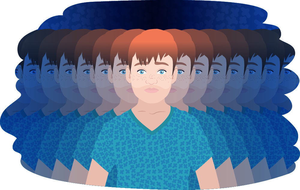 Young person standing with a blurred kaleidoscope of themselves on either side