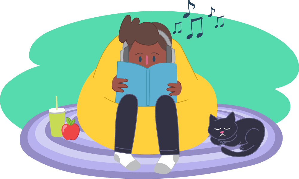 Child reading book in bean bag listening to music surrounded by cat and food
