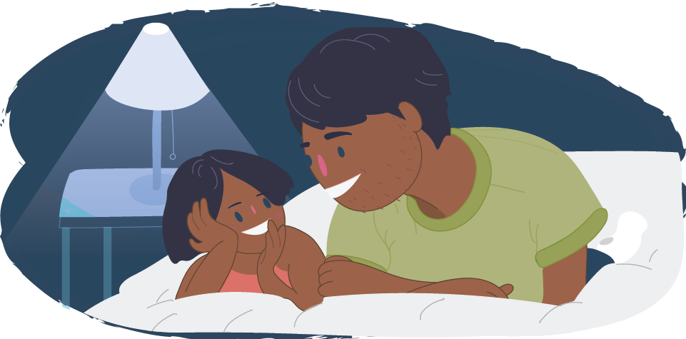 Child talking happily to parent or guardian