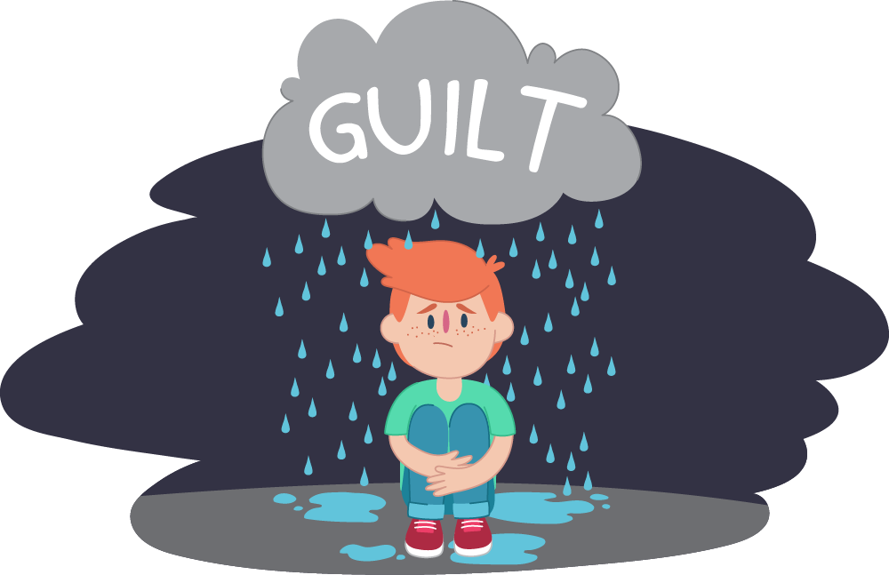 "Little boy sitting under ""guilt"" rain cloud"