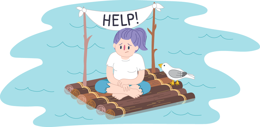Girl stranded on a raft with a sign asking for help