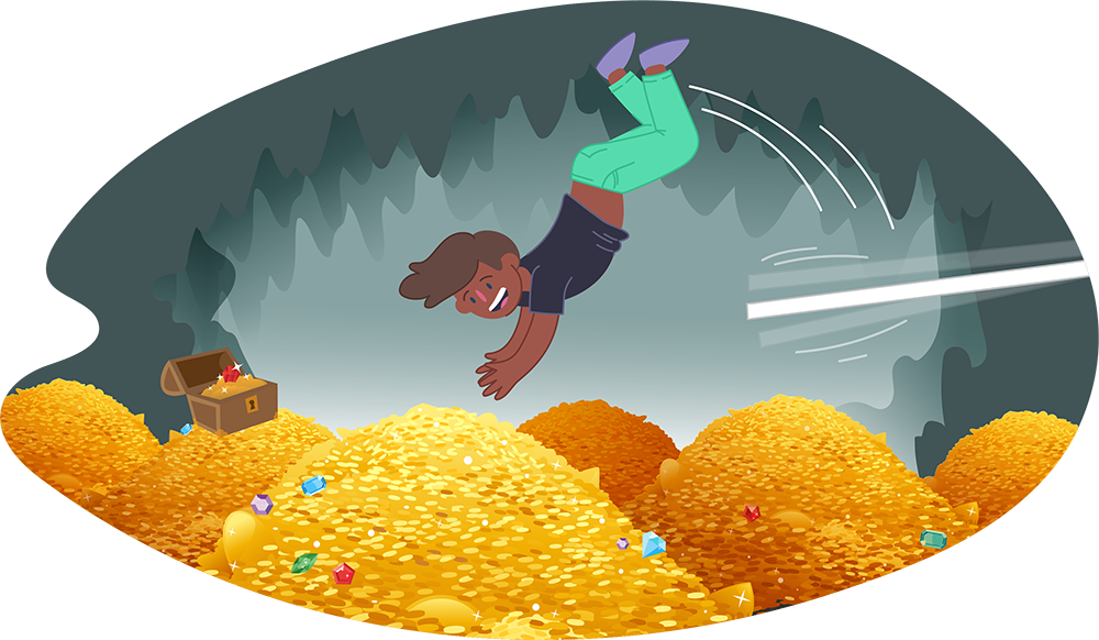 Young man diving into a mound of gold coins