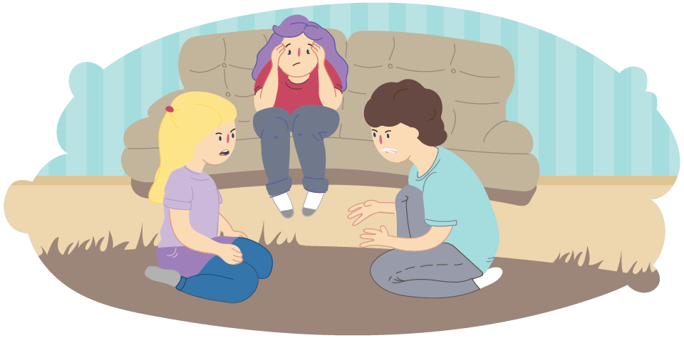Girl and boy arguing on carpet while overwhelmed mother sits in between on couch