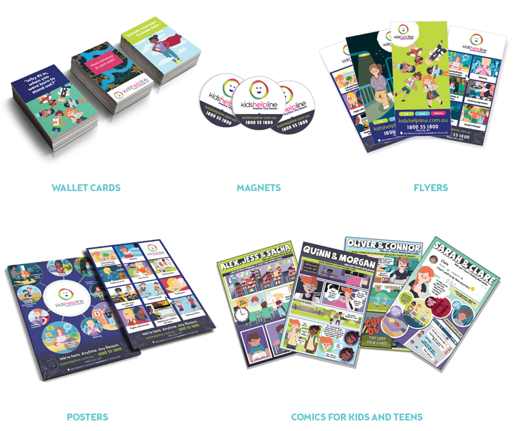Kids Helpline promotional items wallet cards, posters, comics, magnets, flyers