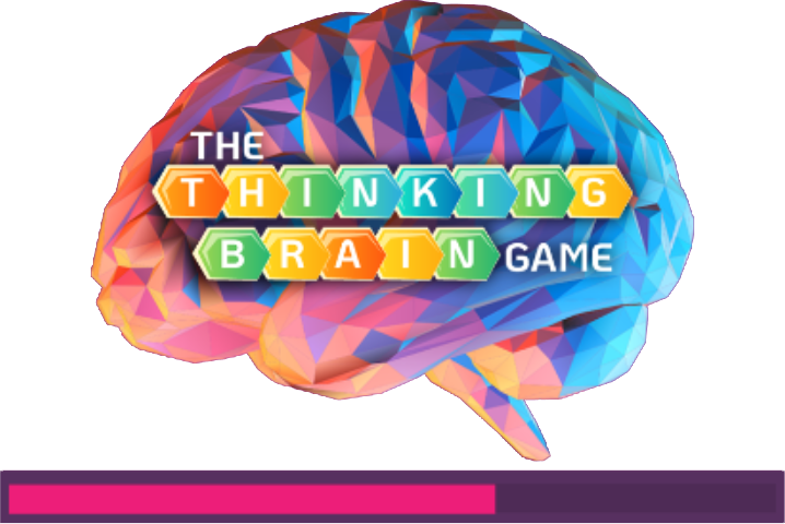 Brain with words 'thinking brain game' superimposed on top