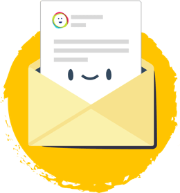 Email envelope with a smiley face