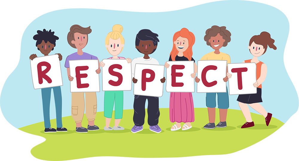 Diverse variety of kids holding up signs that say RESPECT