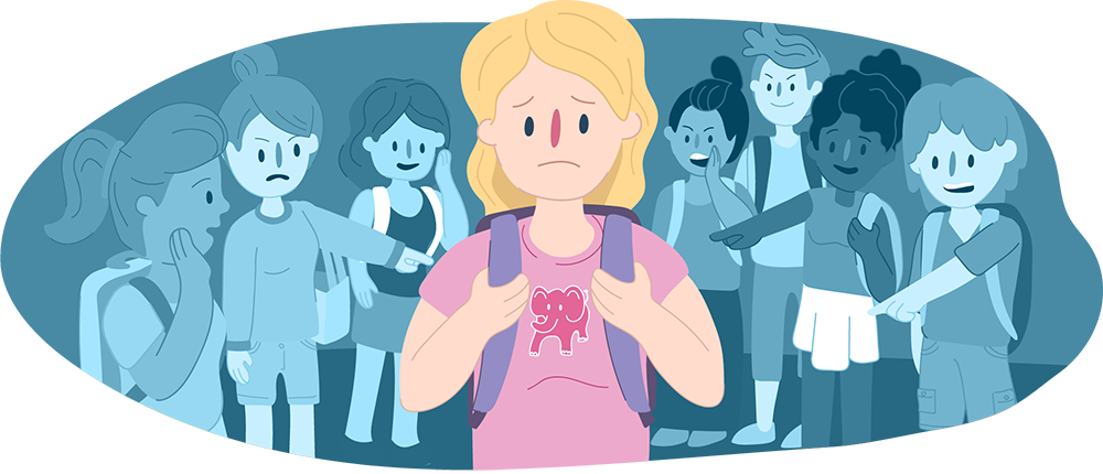 Girl at school, standing in the middle surrounded by other teens either side whispering to each other and pointing at her.