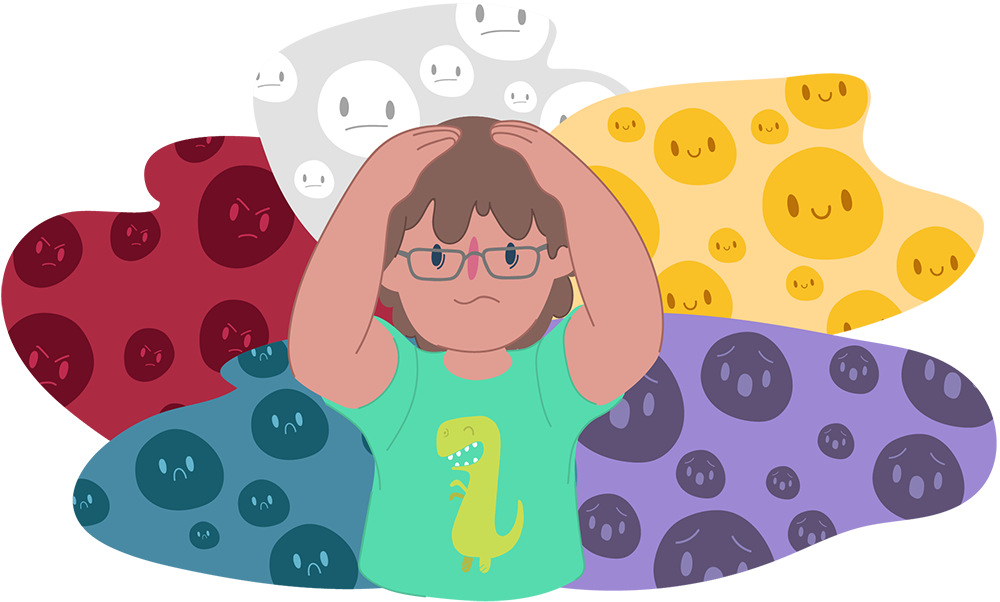 Boy with hands on his head, surrounded by different emotions
