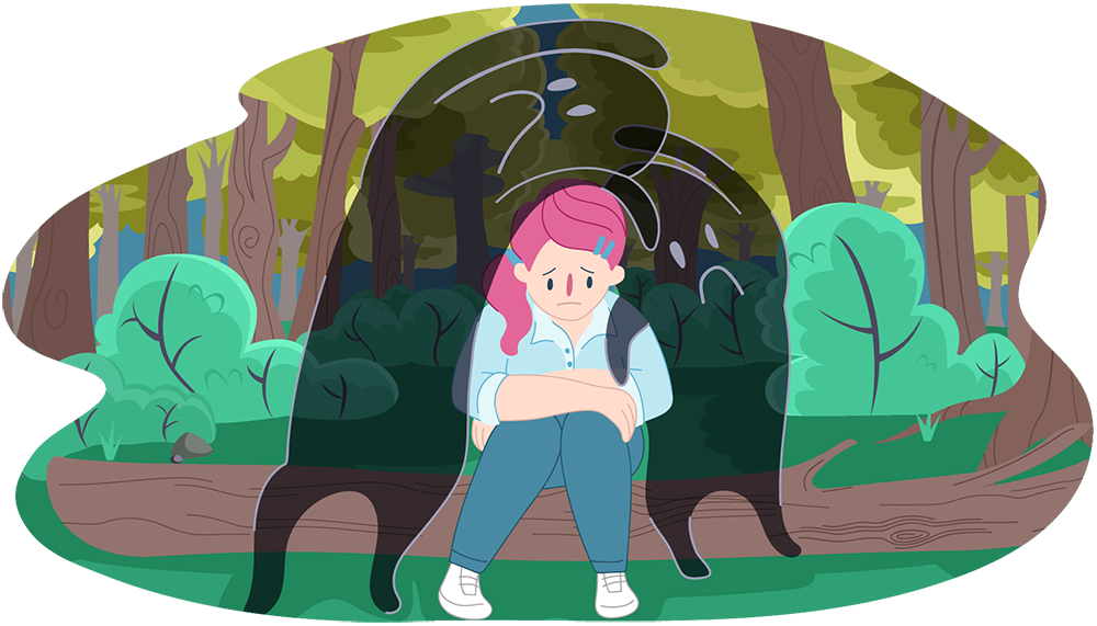 Sad girl sitting on a log as two shadowy characters lean over her