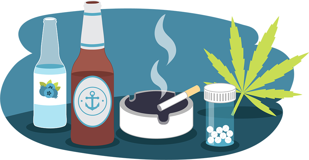 Illustration of beer bottle, RTD, smoking cigarette, cannabis leaf, pills