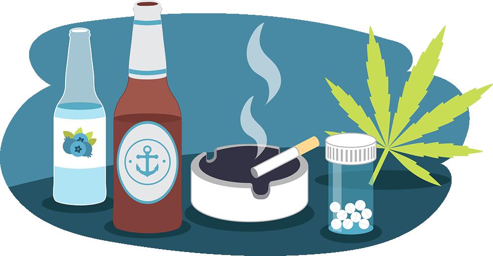 Illustration of beer bottle, RTD, smoking cigarette, cannabis leaf, pills