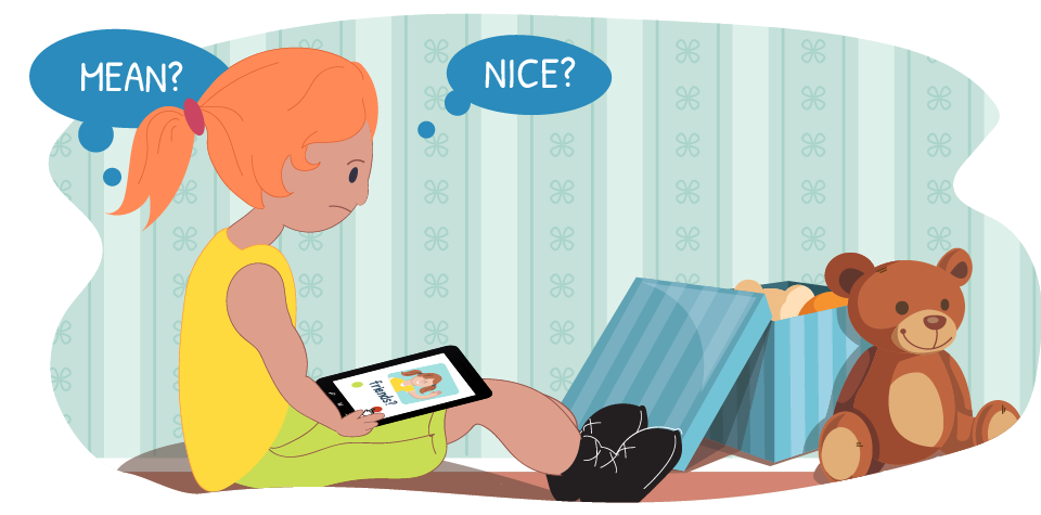 "Girl on device with thought bubbles ""nice?"" or ""mean?"""