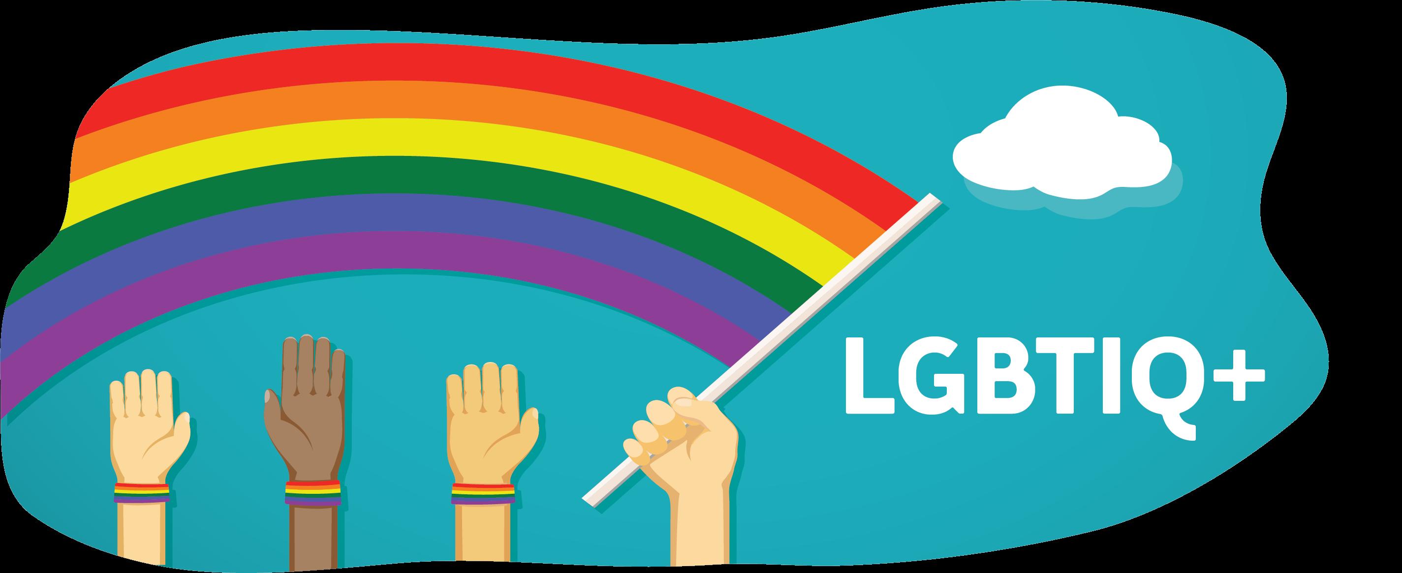 LGBTIQ+ Rainbow flag with hands