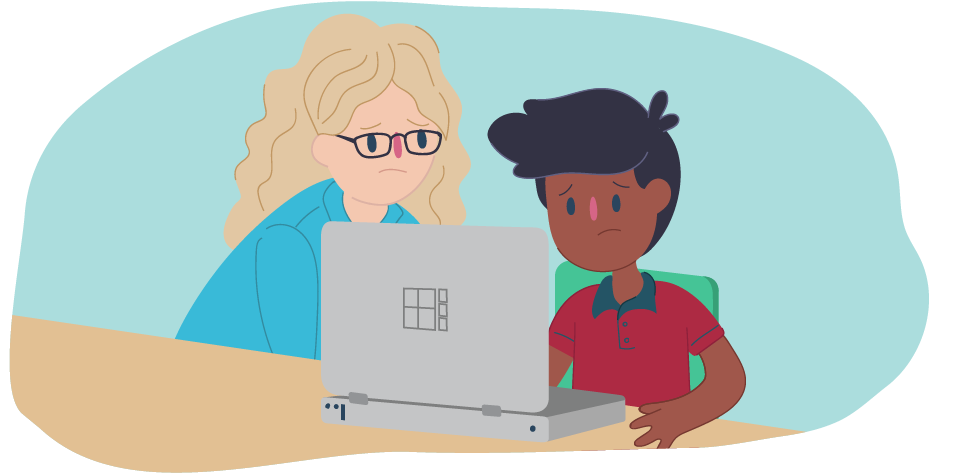 Adult and kid sitting together at a computer
