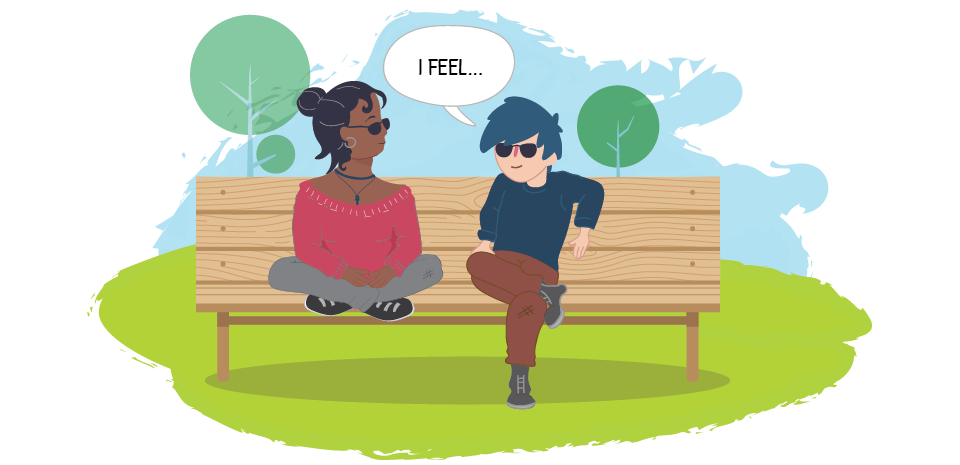 """Two teens on park bench, one saying """"I feel..."""""""